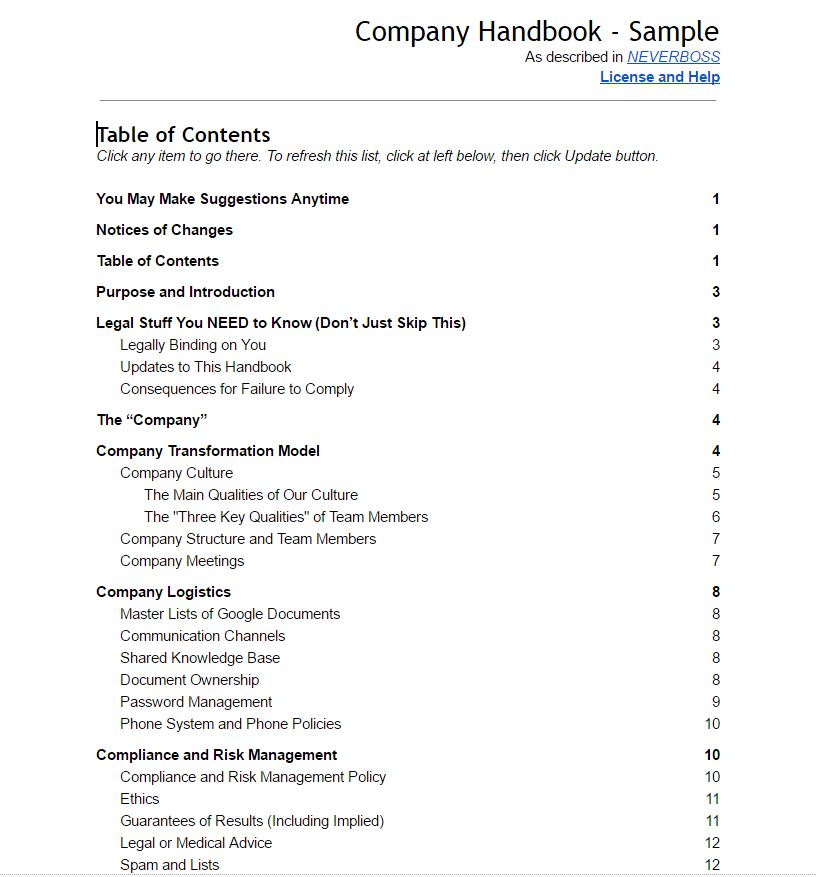 Company Handbook for organizations using Hands-Off Leadership and NEVERBOSS principles