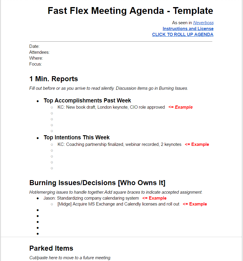 TEMPLATE: Fast Flex Meeting Agenda - Neverboss