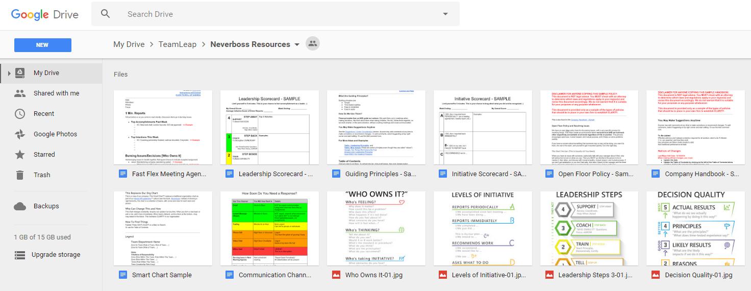 Google Drive Example: Neverboss Folder