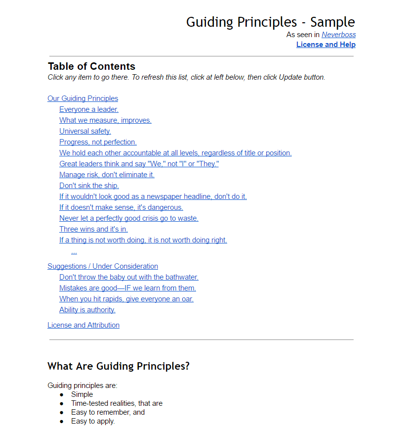 Guiding Principles template for your company