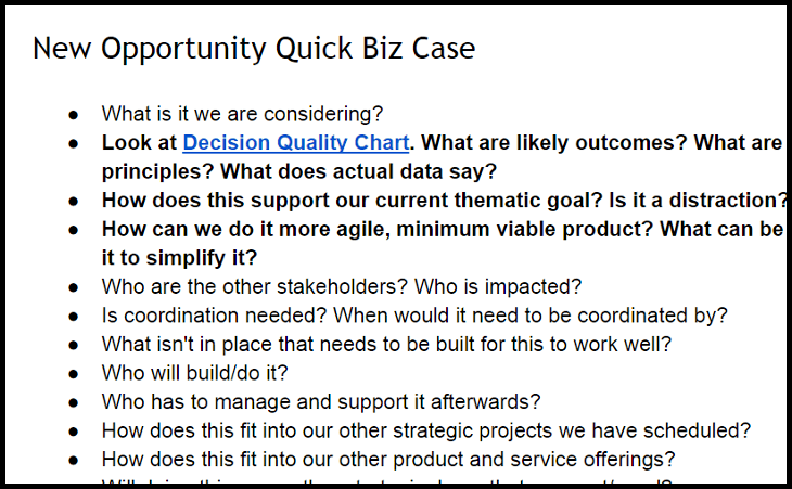 Quick Biz Case allows workers to quickly decide what opportunities are worth pursuing