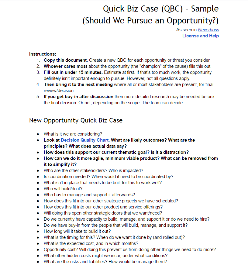 Quick Biz Case to decide fast if an opportunity is worth a second look